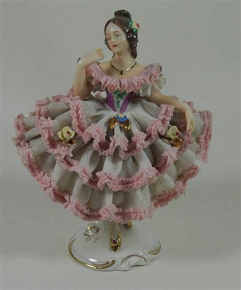 Early Alka Dresden Lace Germany Lady Ballerina Figurine