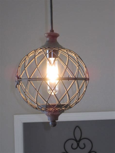 Rustic Small Metal Globe Pendant Light by OutoftheWdworkDesign
