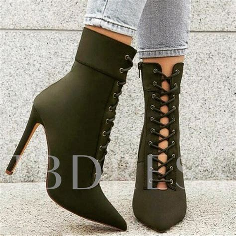 Army Green Lace Up High Heel Women's Boots - Tbdress