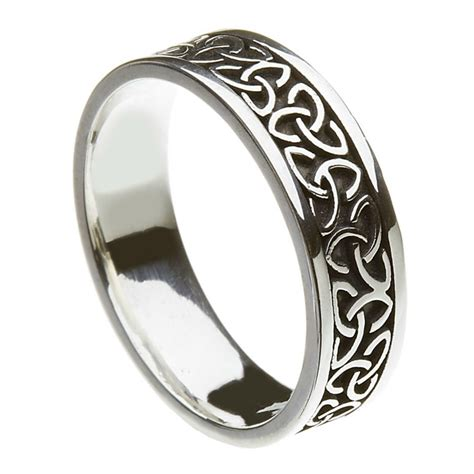 Solid Trinity Knot Silver Band - Celtic Wedding Rings