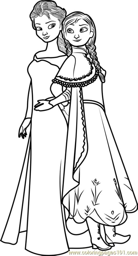 Elsa and Anna Coloring Page - Free Frozen Coloring Pages