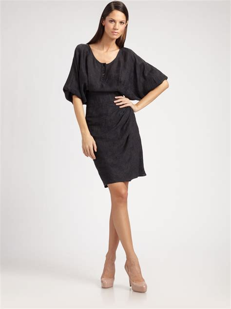 Sophie Theallet Damask Bat Sleeve Dress in Charcoal (Gray