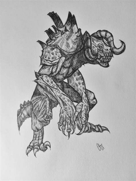 Ballpoint pen drawing of a deathclaw from Fallout 4