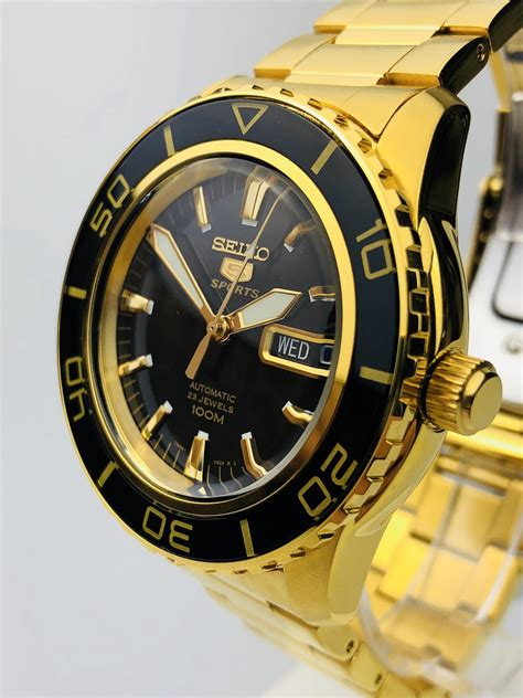 Seiko 5 Sports Automatic Black Dial Gold Stainless Steel