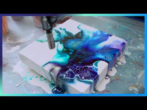 Abstract Acrylic Dirty Pour Fluid Painting With Cells